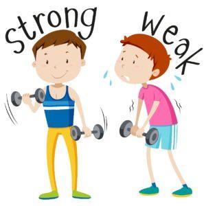 Bodybuilding. Ein starker Mann und ein schwacher Mann bewegen Hanteln.