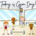 Fitnessstudio, vier gezeichnete Cartoon Menschen mit Muskeln trainieren mit zwei Langhanteln