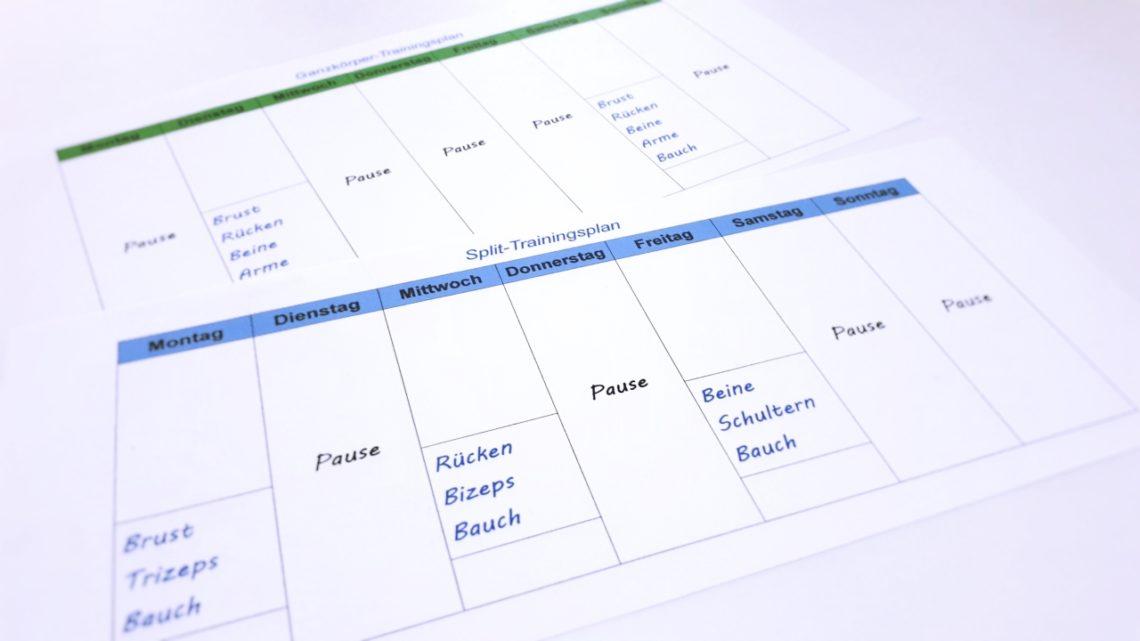 Einen guten Trainingsplan erstellen: Split-Trainingsplan und Ganzkörper-Trainingsplan