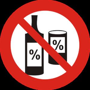 Zeichen Alkoholverbot: Durchgestrichene Flasche und Dose (Kein Alkohol: Sport bei Hitze)