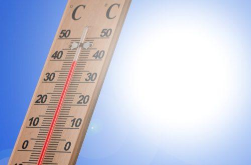 Ein Holzthermometer, dass knapp 40 Grad Celsius anzeigt (Sport bei Hitze)