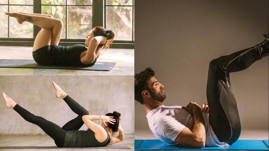 Collage drei Bilder Bauchübungen: Crunch, Bein heben / Leg raise, Fahrrad fahren