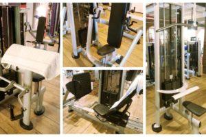 Collage Titelbild Ganzkörper Trainingsplan: Bizepsmaschine, Brustpresse, Beinpresse, Latzug